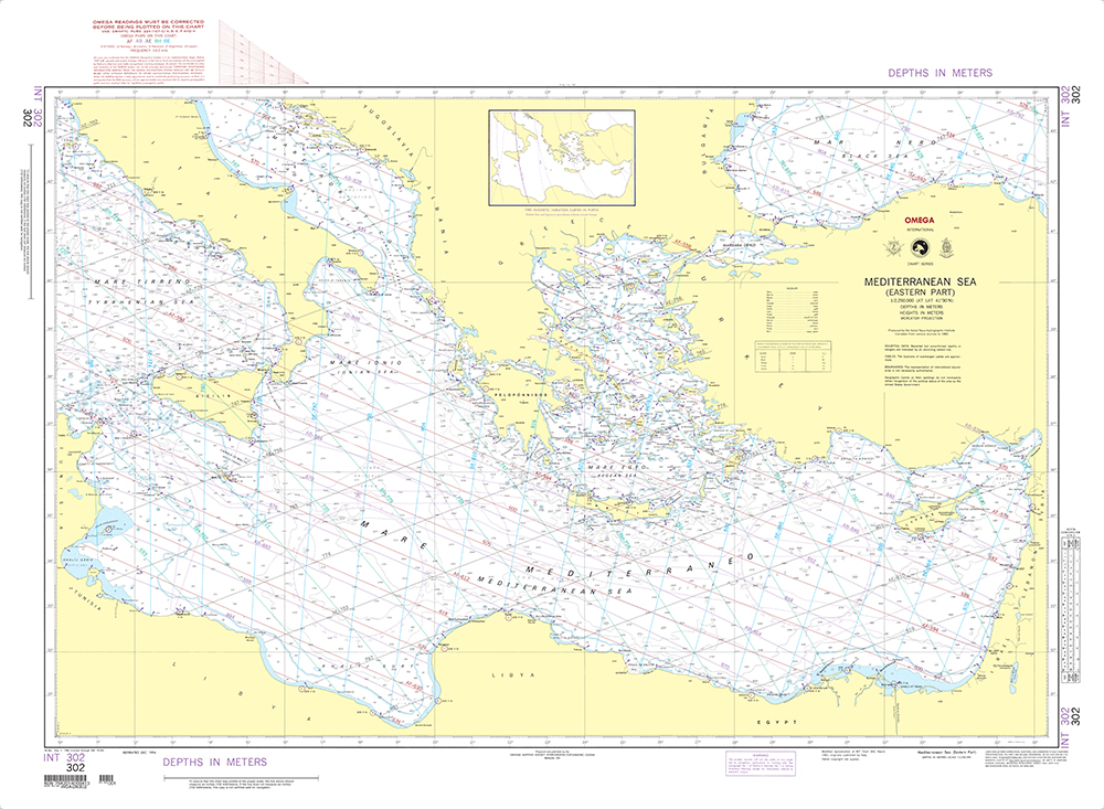 Nga international chart 302 mediterranean sea eastern part