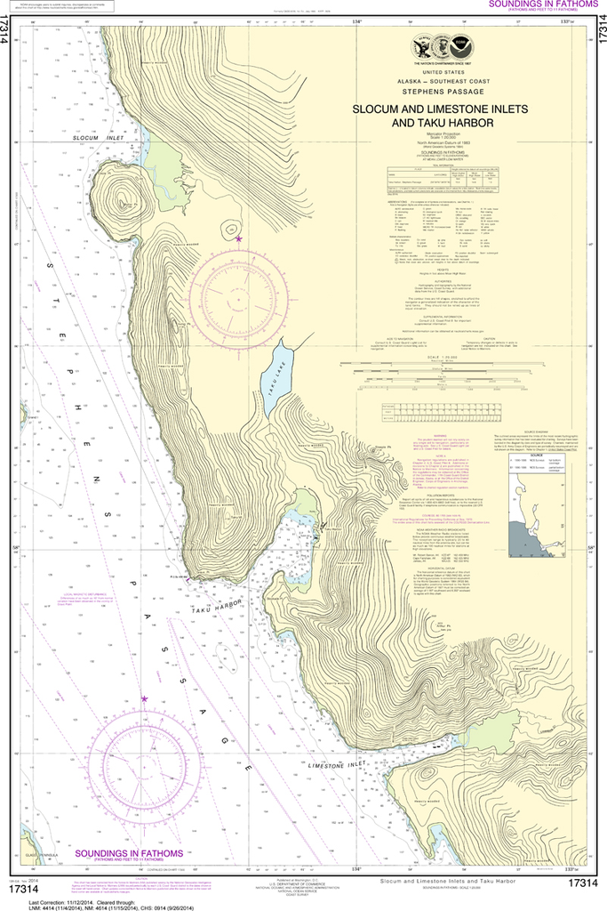 NOAA Chart 17314: Slocum and Limestone Inlets and Taku Harbor