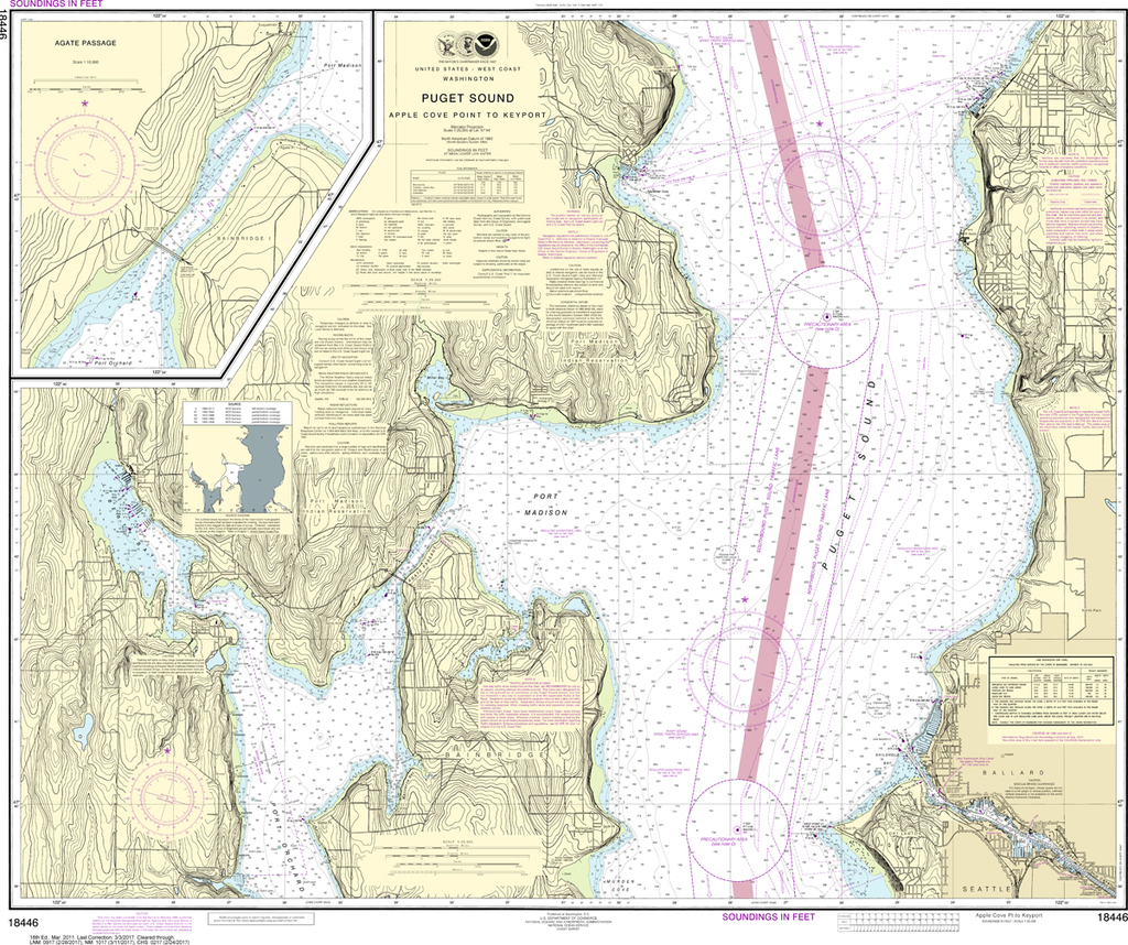 NOAA Chart 18446: Puget Sound - Apple Cove Point to Keyport, Agate Passage