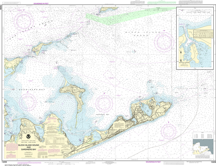 NOAA Chart 13209: Block Island Sound and Gardiners Bay, Montauk Harbor