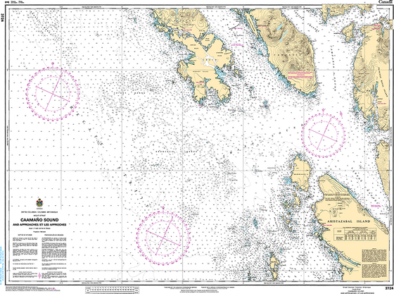 CHS Print-on-Demand Charts Canadian Waters-3724: Caama–o Sound and Approaches/et les approches, CHS POD Chart-CHS3724