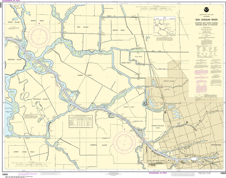 NOAA Chart 18663: San Joaquin River - Stockton Deep Water Channel, Medford Island to Stockton