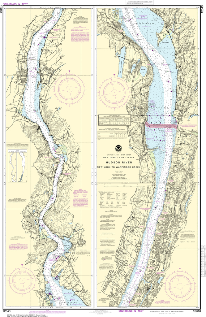NOAA Chart 12343: Hudson River - New York to Wappinger Creek