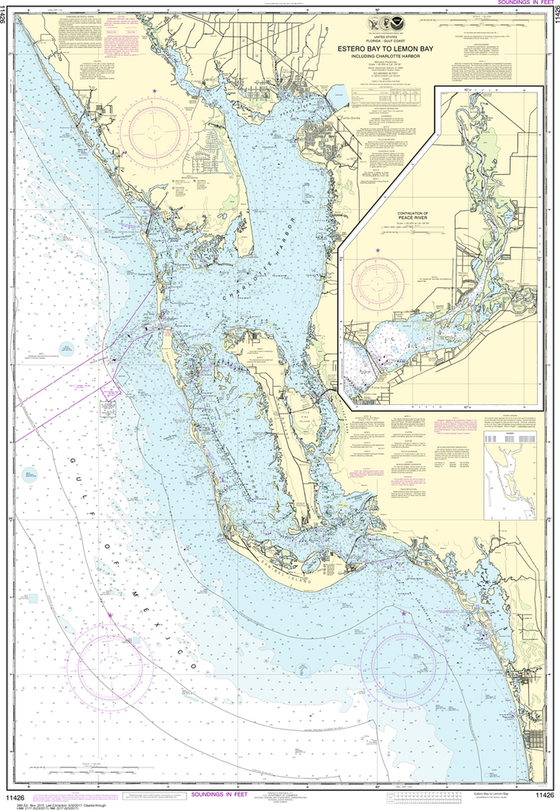 NOAA Chart 11426: Estero Bay to Lemon Bay, including Charlotte Harbor; Continuation of Peace River