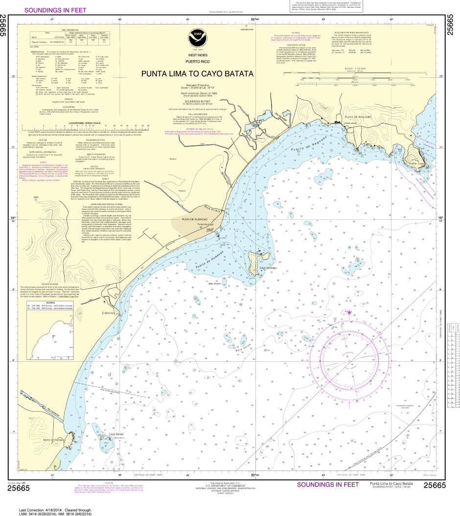 Noaa chart 25665 punta lima to cayo batata captain s supplies