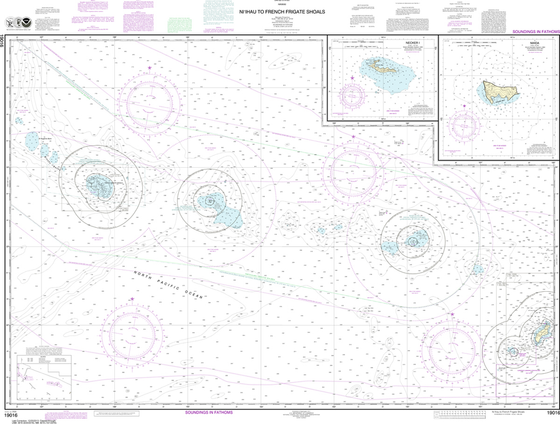 NOAA Chart 19016: Ni'ihau to French Frigate Shoals, Necker Island, Nihoa