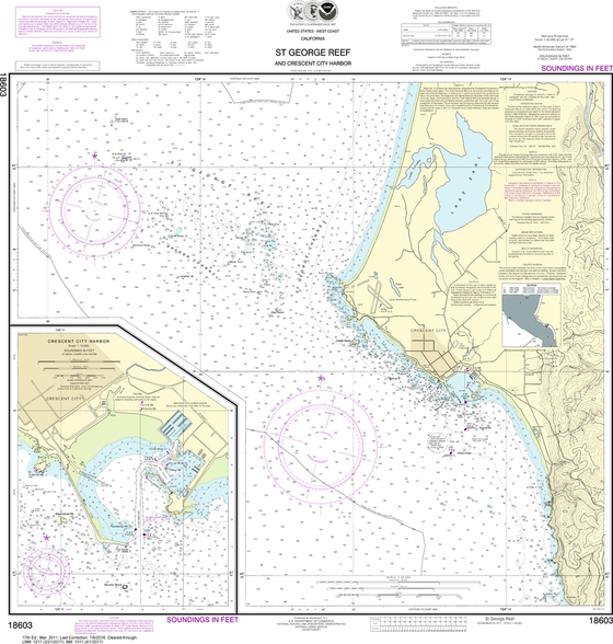 NOAA Chart 18603: St. George Reef and Crescent City Harbor, Crescent City Harbor