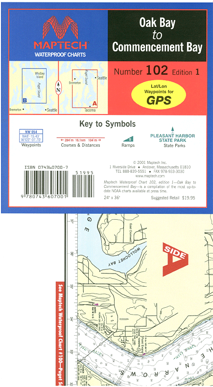 Captain's-Nautical-Supplies-Maptech-Waterproof-Chart-Oak-Bay-Commencement-Bay