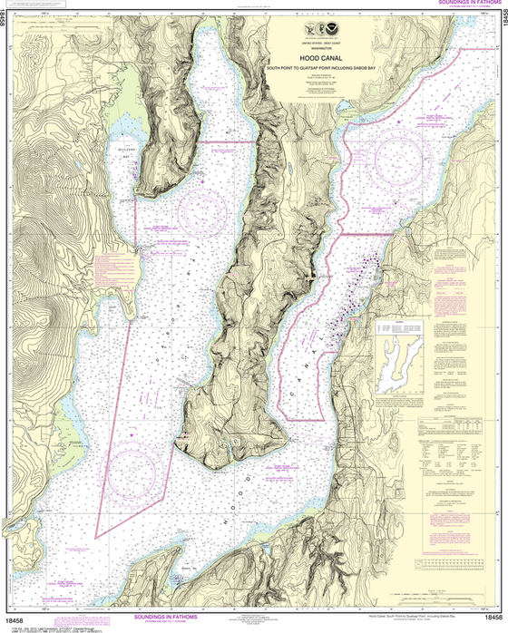 NOAA Chart 18458: Hood Canal - South Point to Quatsap Point including Dabob Bay