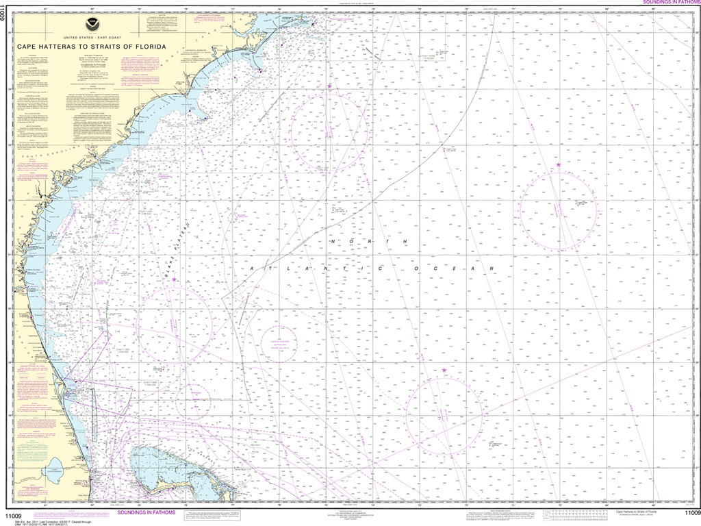NOAA Chart 11009: Cape Hatteras to Straits of Florida