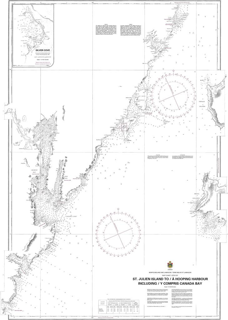 CHS Chart 4583: St. Julien Island to / à Hooping Harbour including / y compris Canada Bay