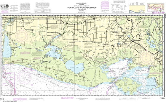 NOAA Chart 11345: Intracoastal Waterway - New Orleans to Calcasieu River West Section