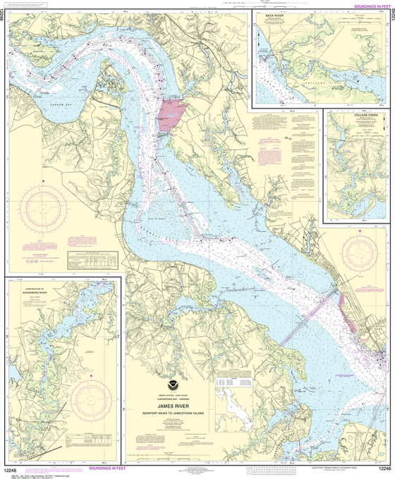 NOAA Chart 12248: James River - Newport News to Jamestown Island, Back River and College Creek
