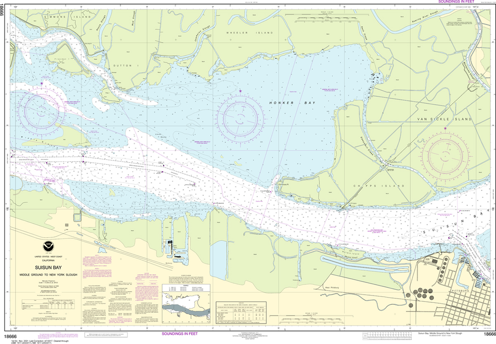 NOAA Chart 18666: Suisun Bay - Middle Ground to New York Slough