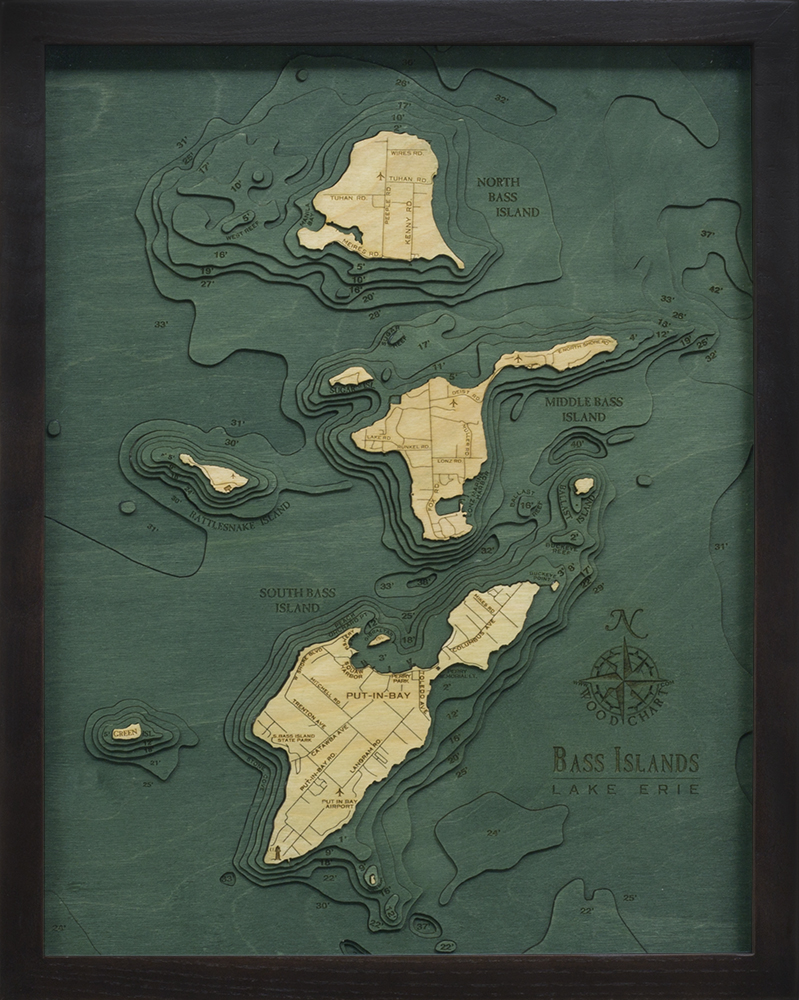 WoodChart of Bass Islands and Put-in-Bay, Ohio