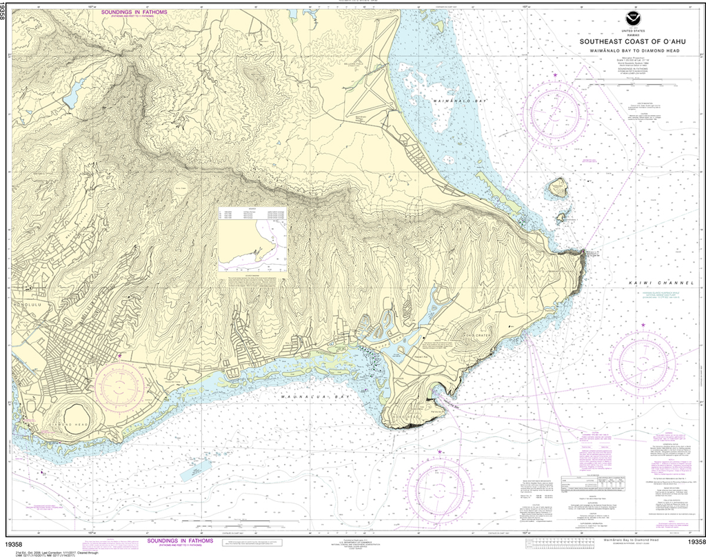 NOAA Chart 19358: Southeast Coast of O'ahu - Waimanalo Bay to Diamond Head