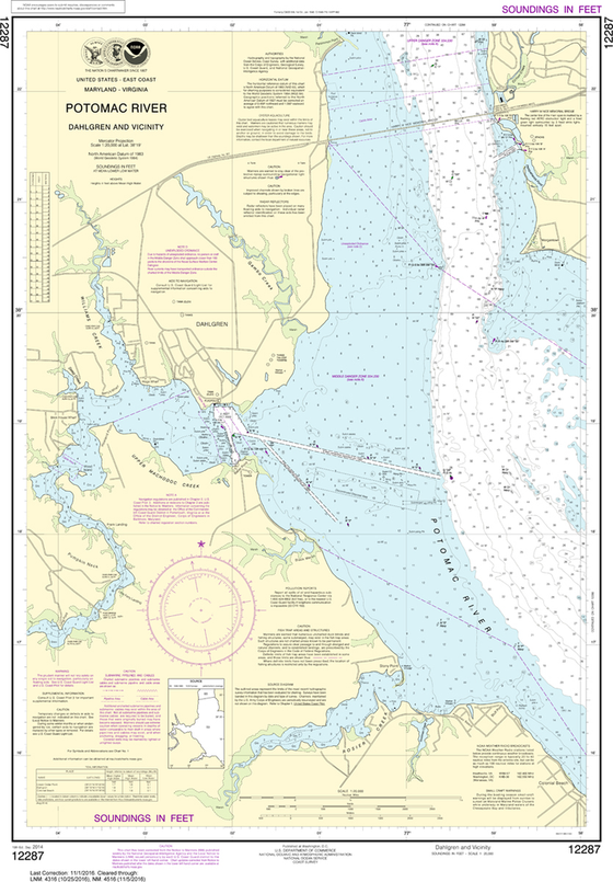 NOAA Chart 12287: Potomac River - Dahlgren and Vicinity