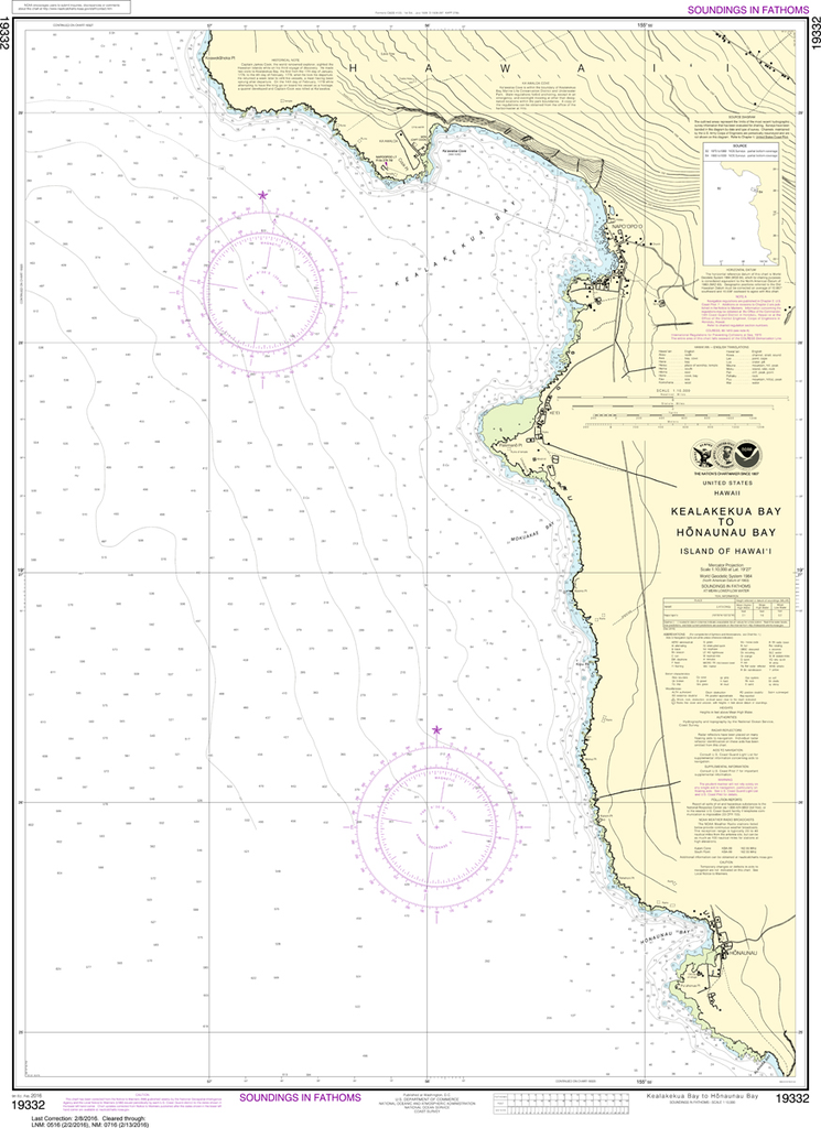 NOAA Chart 19332: Kealakekua Bay to H'naunau Bay
