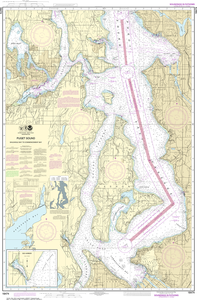 NOAA Chart 18474: Puget Sound - Shilshole Bay to Commencement Bay