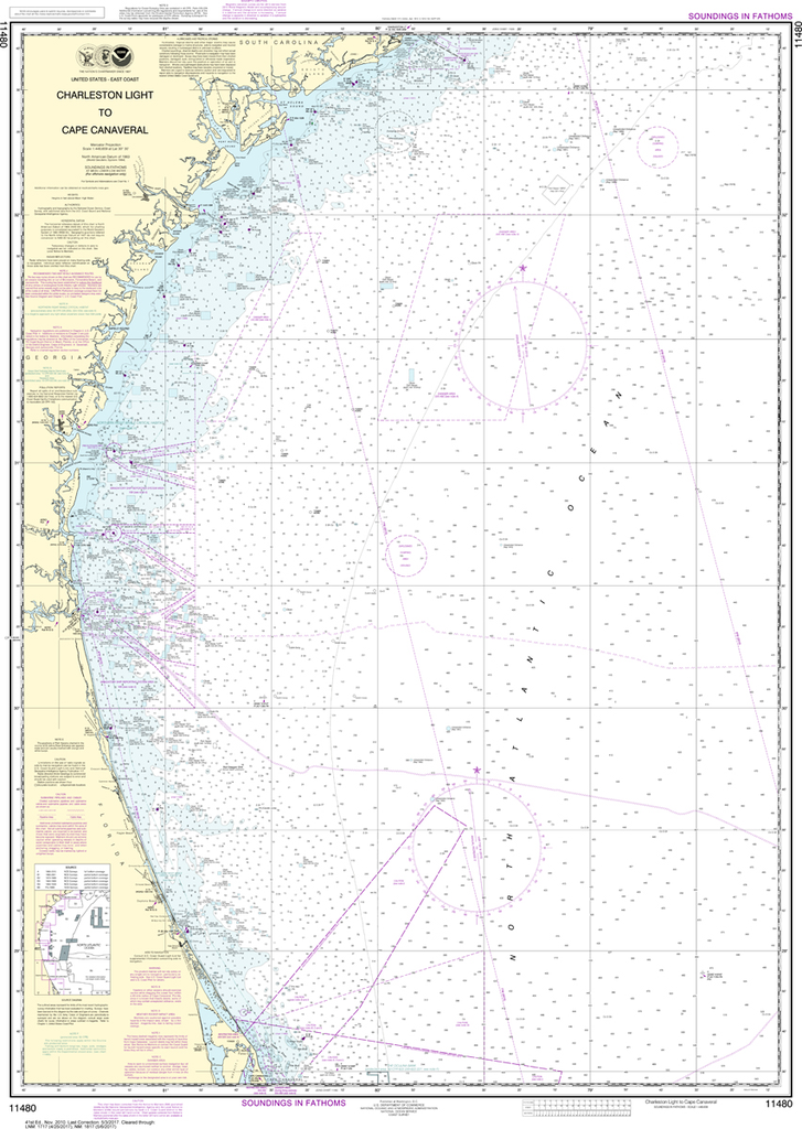 NOAA Chart 11480: Charleston Light to Cape Canaveral