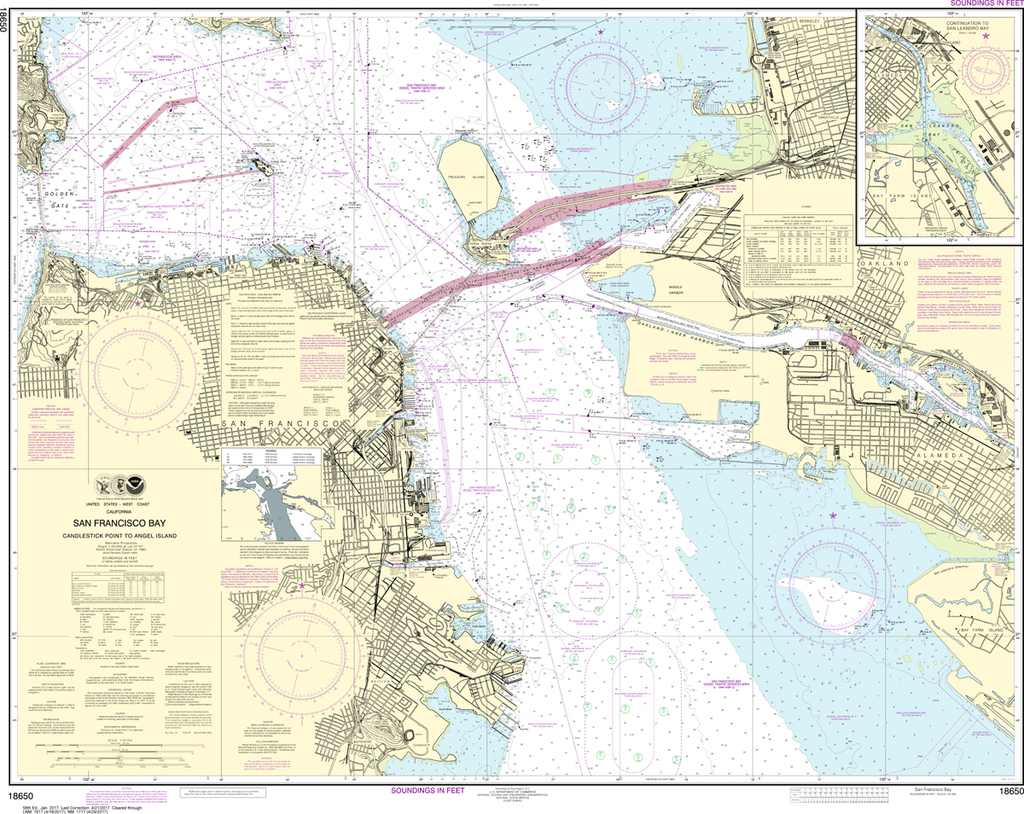 NOAA Chart 18650: San Francisco Bay - Candlestick Point to Angel Island
