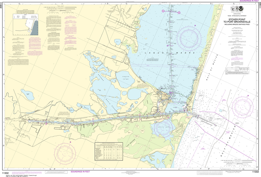 NOAA Chart 11302: Intracoastal Waterway - Stover Point to Port Brownsville-including Brazos Santiago Pass