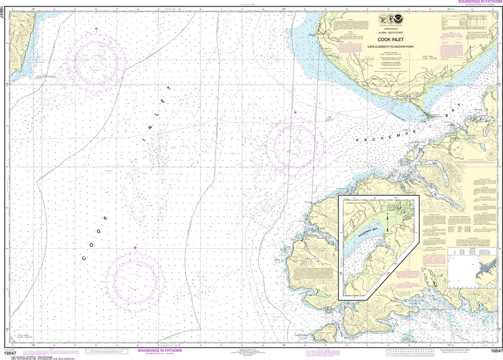 NOAA Chart 16647: Cook Inlet - Cape Elizabeth to Anchor Point