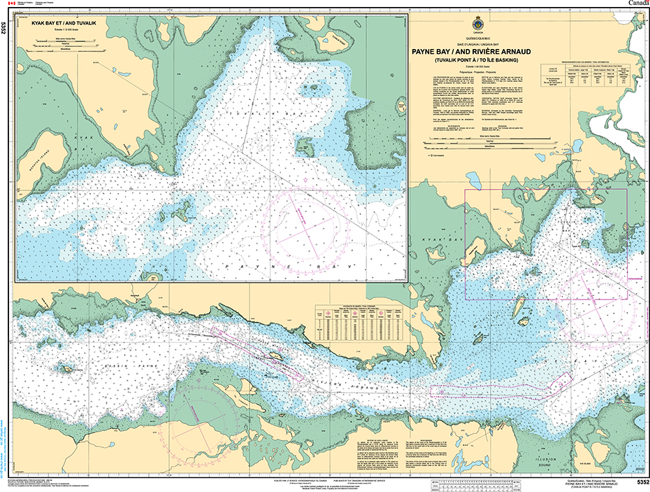 CHS Print-on-Demand Charts Canadian Waters-5352: Payne Bay et/and RiviЏre Arnaud (Tuvalik Point €/to Ile Basking), CHS POD Chart-CHS5352