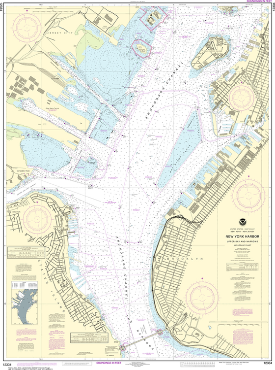 NOAA Chart 12334: New York Harbor - Upper Bay and Narrows, Anchorage Chart