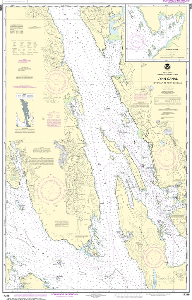 NOAA Chart 17316: Lynn Canal - Icy Strait to Point Sherman, Funter Bay, Chatham Strait
