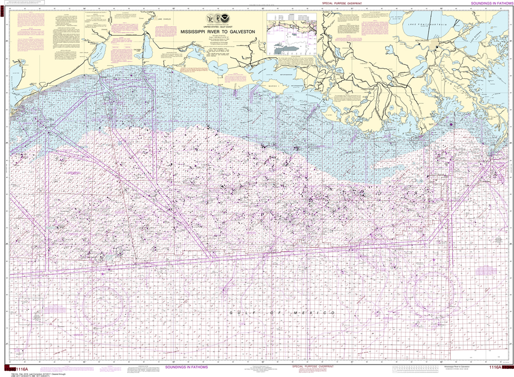NOAA Chart 1116A: Mississippi River to Galveston (Oil and Gas Leasing Areas)