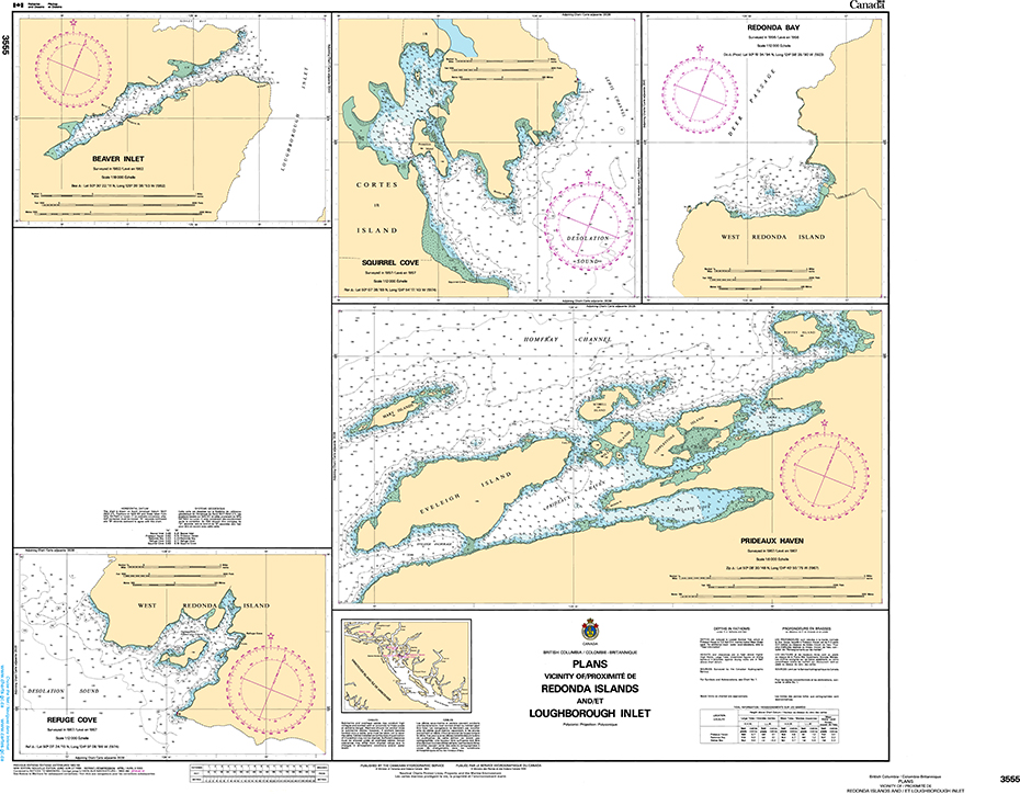 CHS Print-on-Demand Charts Canadian Waters-3555: Plans - Vicinity of/ProximitЋ de Redonda Islands and/et Loughborough Inlet, CHS POD Chart-CHS3555