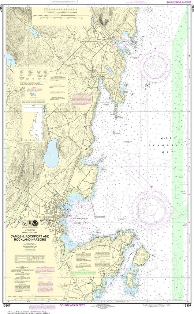 NOAA Chart 13307: Camden, Rockport and Rockland Harbors