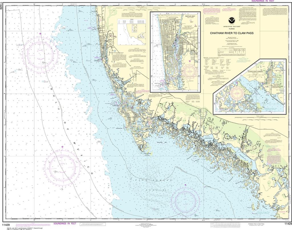 NOAA Chart 11429: Chatham River to Clam Pass, Naples Bay, Everglades Harbor