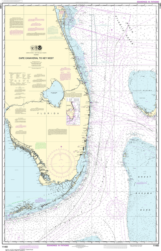 NOAA Chart 11460: Cape Canaveral to Key West