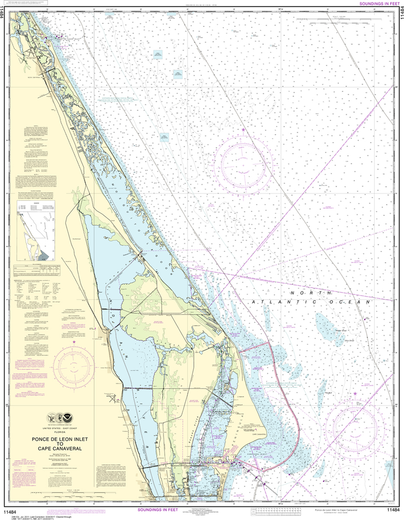 NOAA Chart 11484: Ponce de Leon Inlet to Cape Canaveral