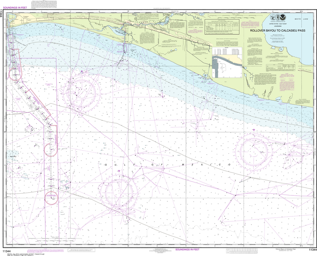 NOAA Chart 11344: Rollover Bayou to Calcasieu Pass