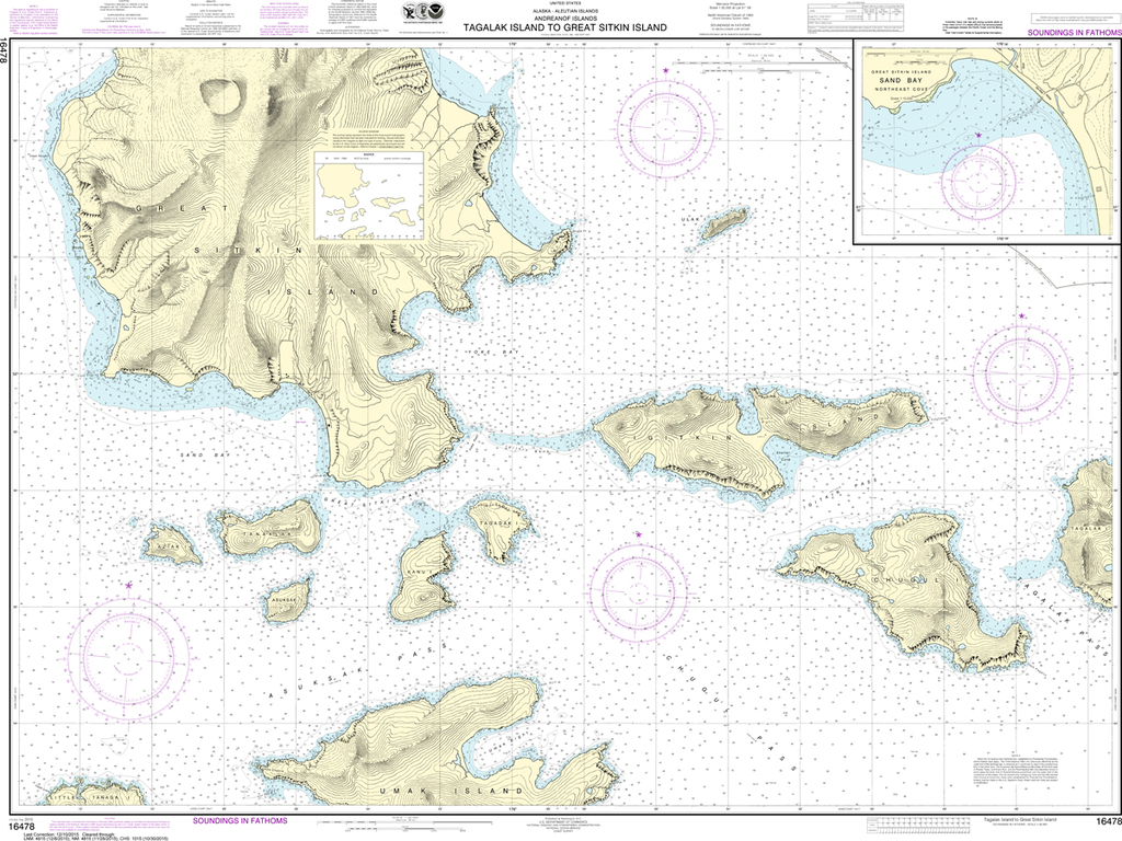 NOAA Chart 16478: Tagalak Island to Great Sitkin Island, Sand Bay - Northeast Cove