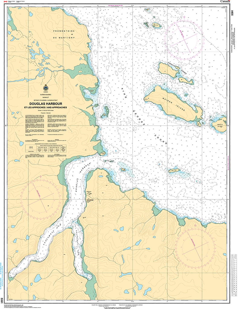 CHS Print-on-Demand Charts Canadian Waters-5391: Douglas Harbour et les Approches/and Approaches, CHS POD Chart-CHS5391
