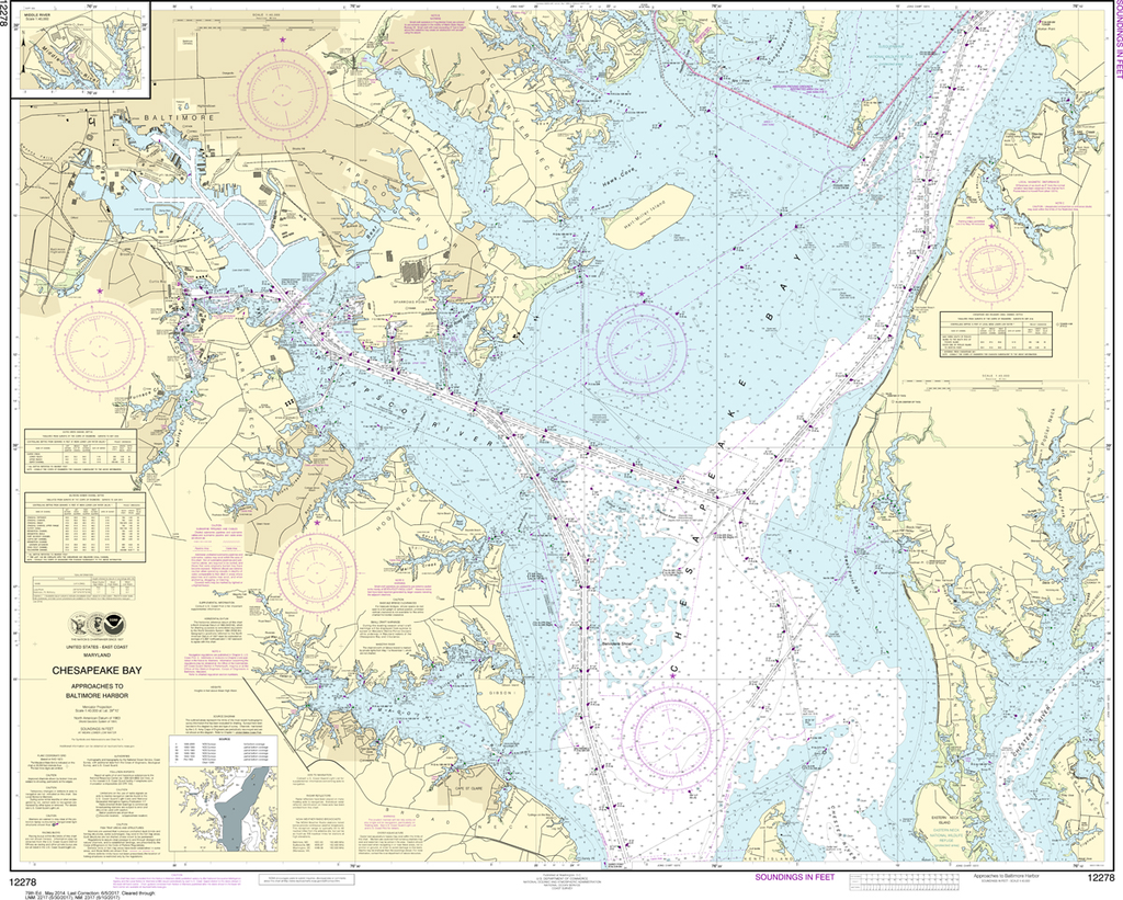 NOAA Chart 12278: Chesapeake Bay - Approaches to Baltimore Harbor