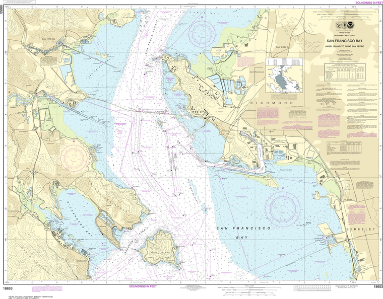 NOAA Chart 18653: San Francisco Bay - Angel Island to Point San Pedro