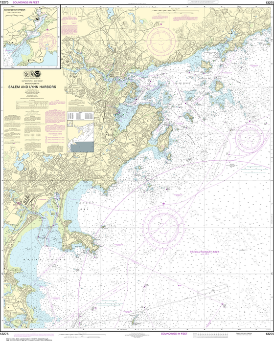 NOAA Chart 13275: Salem and Lynn Harbors, Manchester Harbor