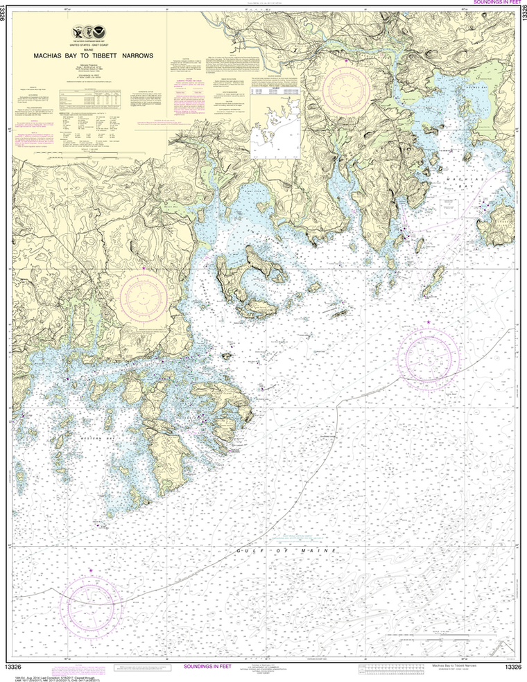 NOAA Chart 13326: Machias Bay to Tibbett Narrows
