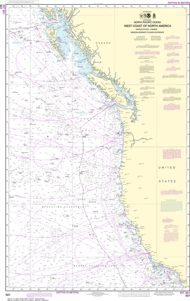 NOAA Chart 501: North Pacific Ocean - West Coast Of North America Mexican Border To Dixon Entrance
