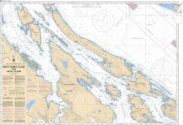 CHS Chart 3442: North Pender Island to/à Thetis Island