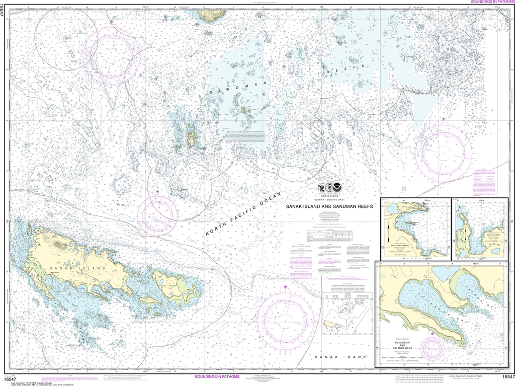 NOAA Chart 16547: Sanak Island and Sandman Reefs, Northeast Harbor, Peterson and Salmon Bays, Sanak Harbor