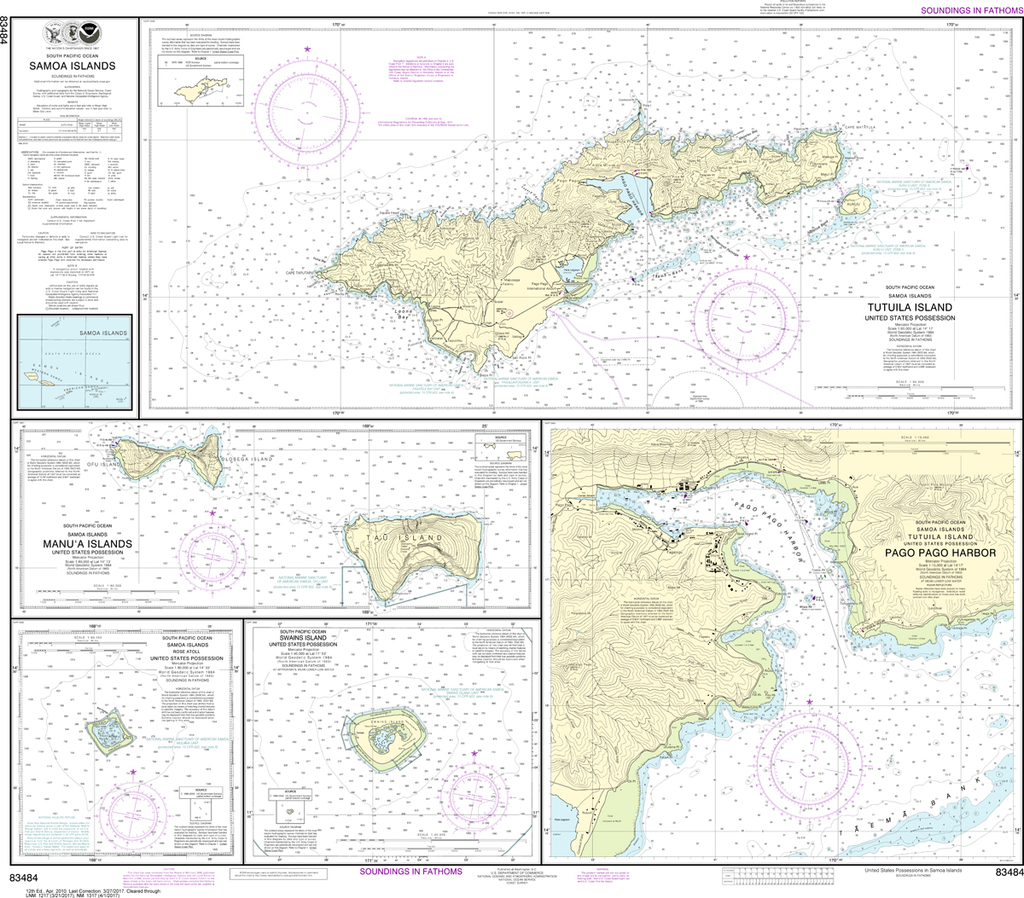 US Charts Pacific Islands Captains Supplies Tagged South Pacific - Us pacific islands map
