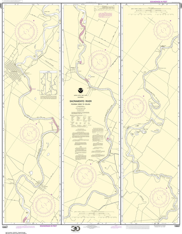 NOAA Chart 18667: Sacramento River - Fourmile Bend To Colusa