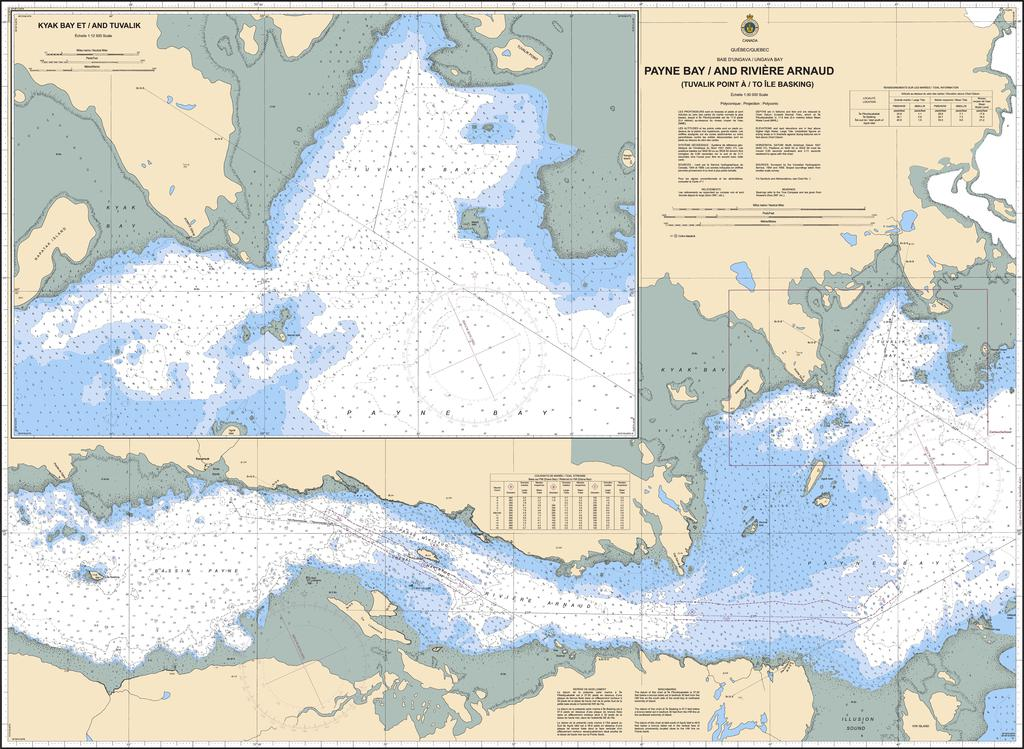 CHS Chart 5352: Payne Bay et/and Rivière Arnaud (Tuvalik Point à/to Ile Basking)