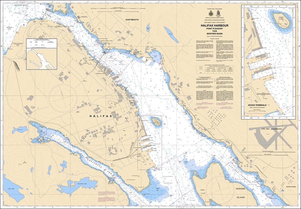 CHS Chart 4202: Halifax Harbour: Point Pleasant to / à Bedford Basin